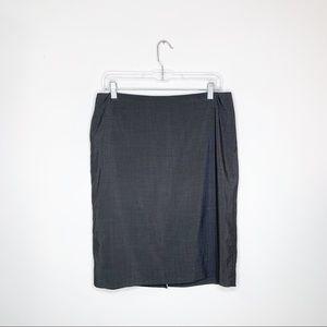 Theory Charcoal Grey Wool Blend Career Skirt Sz 8